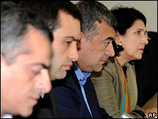 From left: Kakha Shartava, Levan Gachechiladze, Irakli Alasania and Salome Zurabishvili (11 May 2009)
