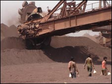 Iron ore being stored in Orissa