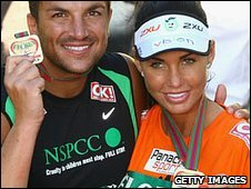 Peter Jordan and Katie Price after the London Marathon