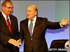 Wada president John Fahey and his Fifa counterpart Sepp Blatter in Sydney
