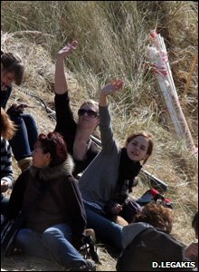 Emma Watson and some of the cast take a break during filming of the final Harry Potter masterpiece