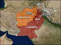 خريطة تُظهر كلا من باكستان وأفغانستان