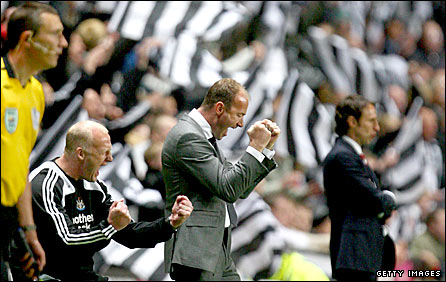 Newcastle boss Alan Shearer celebrates his side's victory