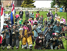 English Civil War re-enactment in Marbury