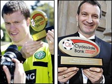 Gary Caldwell and Csaba Laszlo with their awards