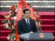 Chinese President Hu Jintao leads the ceremony in Yingxiu