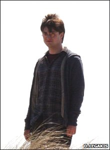 Daniel Radcliffe during Harry Potter filming  in Pembrokeshire