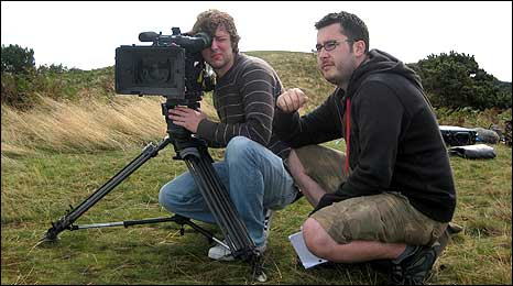 Director Matt Wildash and director of photography, Christopher Sharman, on location for Grip