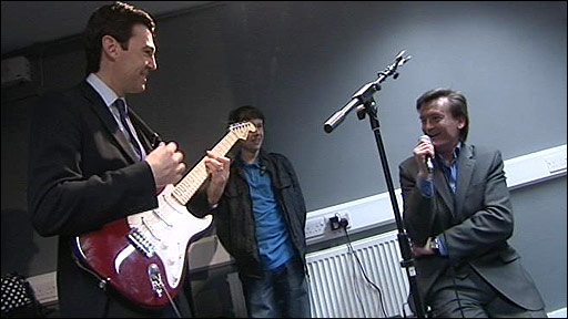 Culture Secretary Andy Burnham and ex-Undertones singer Feargal Sharkey