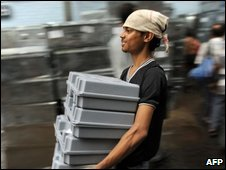 Election machines in Calcutta