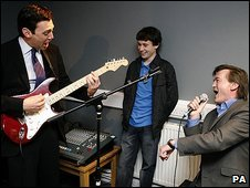 Andy Burnham (left) and Feargal Sharkey (right) open rehearsal room in Liverpool