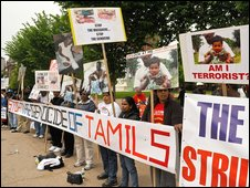 Tamils protest in front of the White House in Washington on Monday