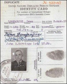 A reproduction of an identity card for John Demjanjuk, then known as Ivan, from 1948