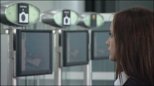 Woman looking at scanner