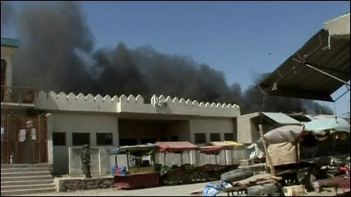 Smoke rises about a building in Khost
