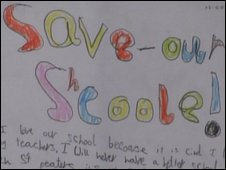 """Save our school"" poster at St Peter's Infants"