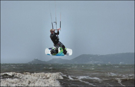 Mike Davies captured this kite surfer taking off from a wave at a windy Aberavon beach, Port Talbot.