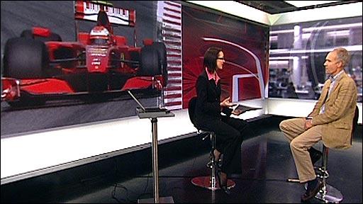 Alison Mitchell interviews BBC F1 commentator Jonathan Legard