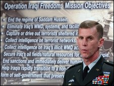 McChrystal briefs reporters at the Pentagon April 2003