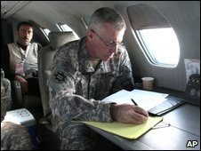 McKiernan during a flight to Kandahar, April 2009