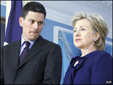 UK Foreign Secretary David Miliband and US Secretary of State Hillary Clinton in Washington