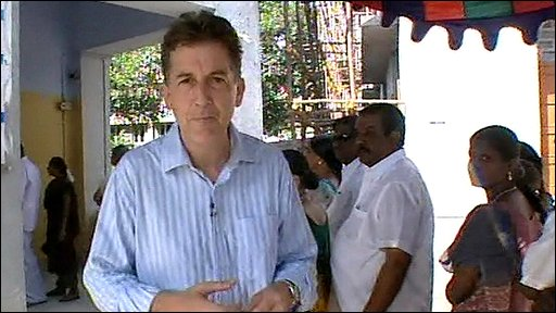 The BBC's Chris Morris outside a polling station in India
