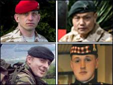 Sgt Ben Ross, Cpl Kumar Pun (Top L-R)  Rifleman Adrian Sheldon, Cpl Sean Binnie (Bottom L-R)