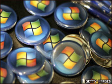 Buttons with the Microsoft logo