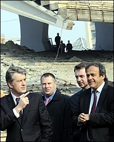 Ukrainian priesident Viktor Yushchenko (left) shows Uefa president Michel Platini the Olympic Stadium in Kiev