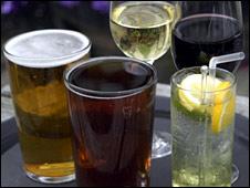 Glasses of beer, wine, spirits