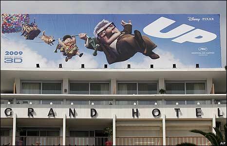 A billboard advertising opening night film Up