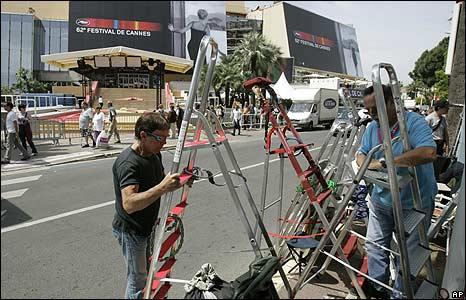 Preparations outside the Palais des Festivals