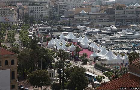 Tents outside the Palais des Festivals