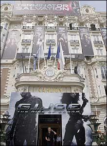 Billboards outside the Carlton Hotel