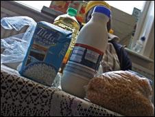 A food parcel for an asylum seeker