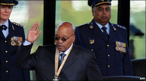 Jacob Zuma being sworn in as president