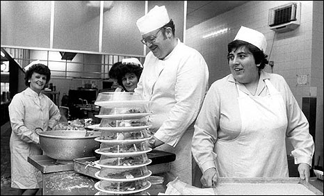 Julie Hayward in the kitchen at Cammell Laird