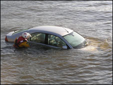 The submerged car