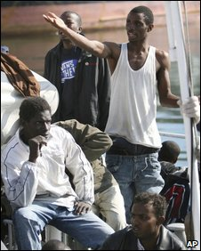 African immigrants on a boat in the Mediterranean, file