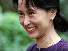 Burmese opposition leader Aung San Suu Kyi (13 July 1995)