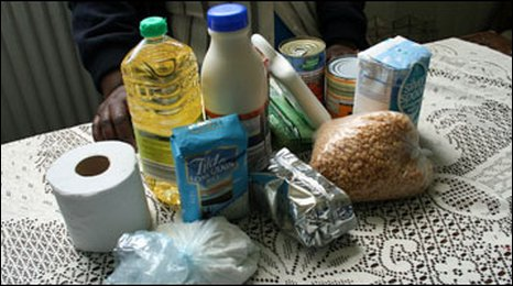 A food parcel for an asylum seeker