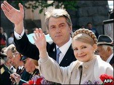 Ukrainian President Viktor Yushchenko and Prime Minister Yulia Tymoshenko