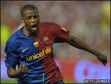 Yaya Toure celebrates his goal in the Copa del Rey final