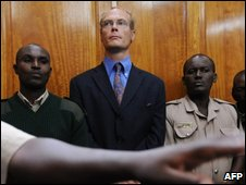 Thomas Cholmondeley (L), son of the fifth Baron Delamere and descendant of Kenya's most prominent early settler, in Nairobi High Court on Thursday 14 May 2009