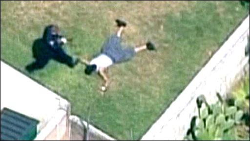 LA officer 'kicks suspect in head'
