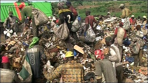 People on the rubbish dump at Aquedo, Ivory Coast