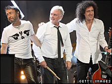 Paul Rodgers and Queen members Roger Taylor and Brian May