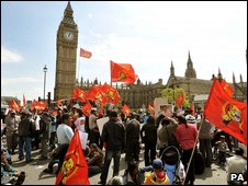 Tamil Protesters outside Parliament on 11 May 2009