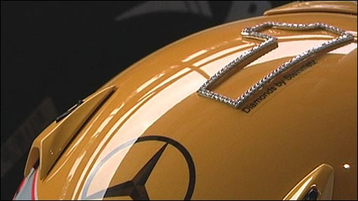 Lewis Hamilton's diamond-encrusted race helmet