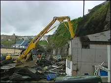 Demolition of fishermen's lofts